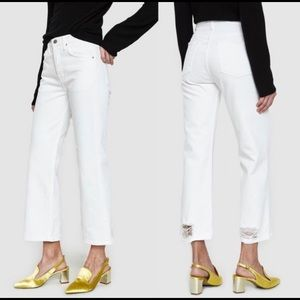 NEW GRLFRND Linda White High Waist Cropped Jeans